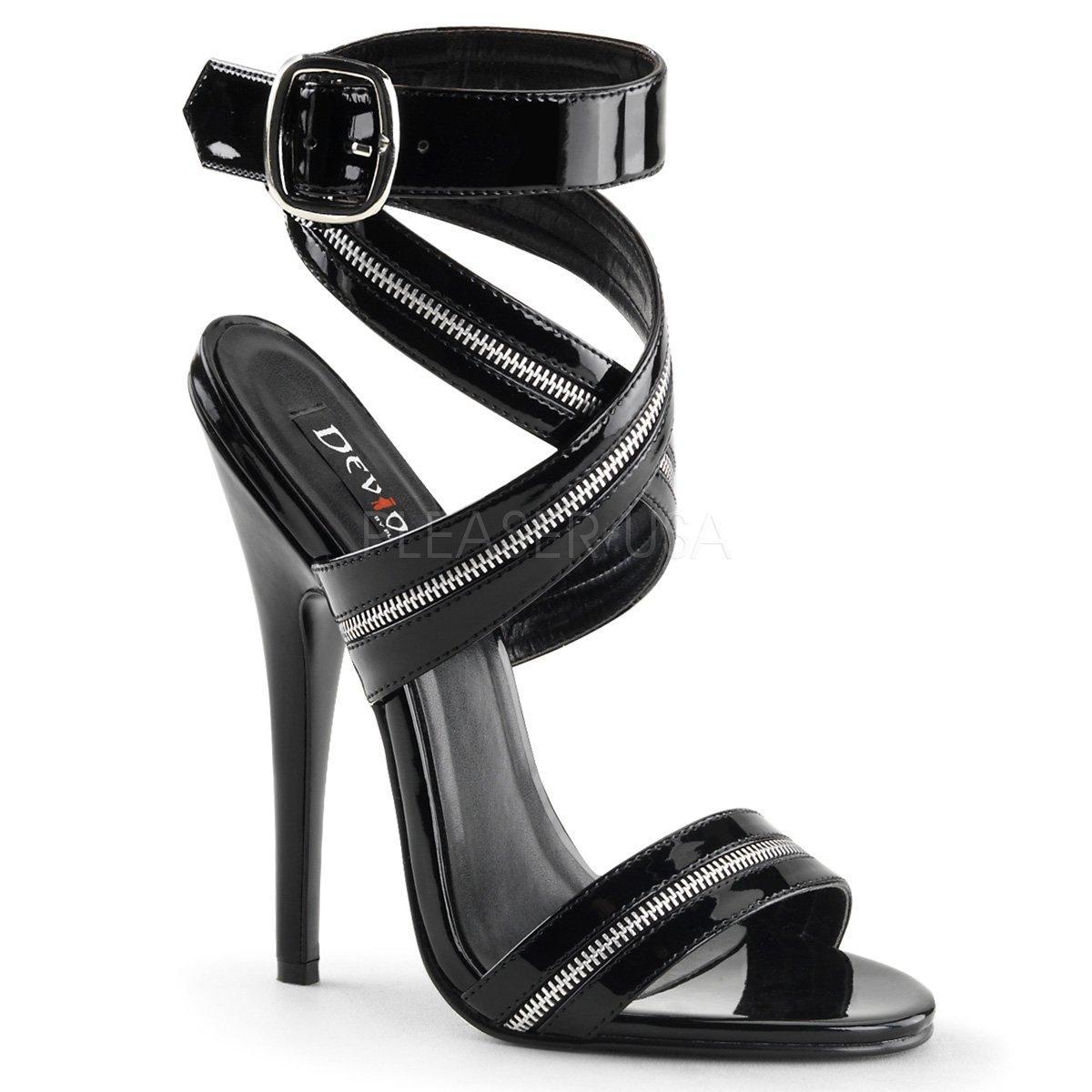 Dámské černé sandály na extrémně vysokém podpatku se silným páskem přes  kotník DOMINA-119 ce8c4f098c