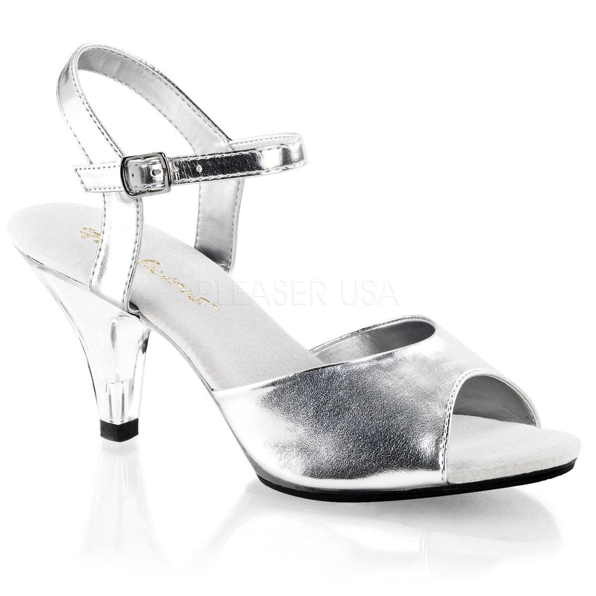 8c2a4dd3d5 BELLE-309 Stříbrné společenské sandálky na nízkém podpatku