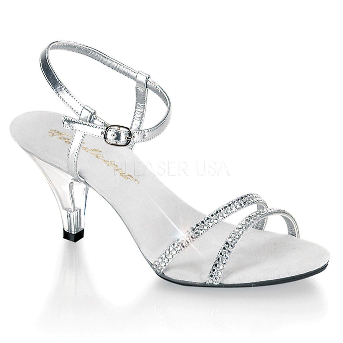 BELLE-316 Stříbrné páskové společenské sandálky s kamínky na nízkém podpatku 367d410cd3