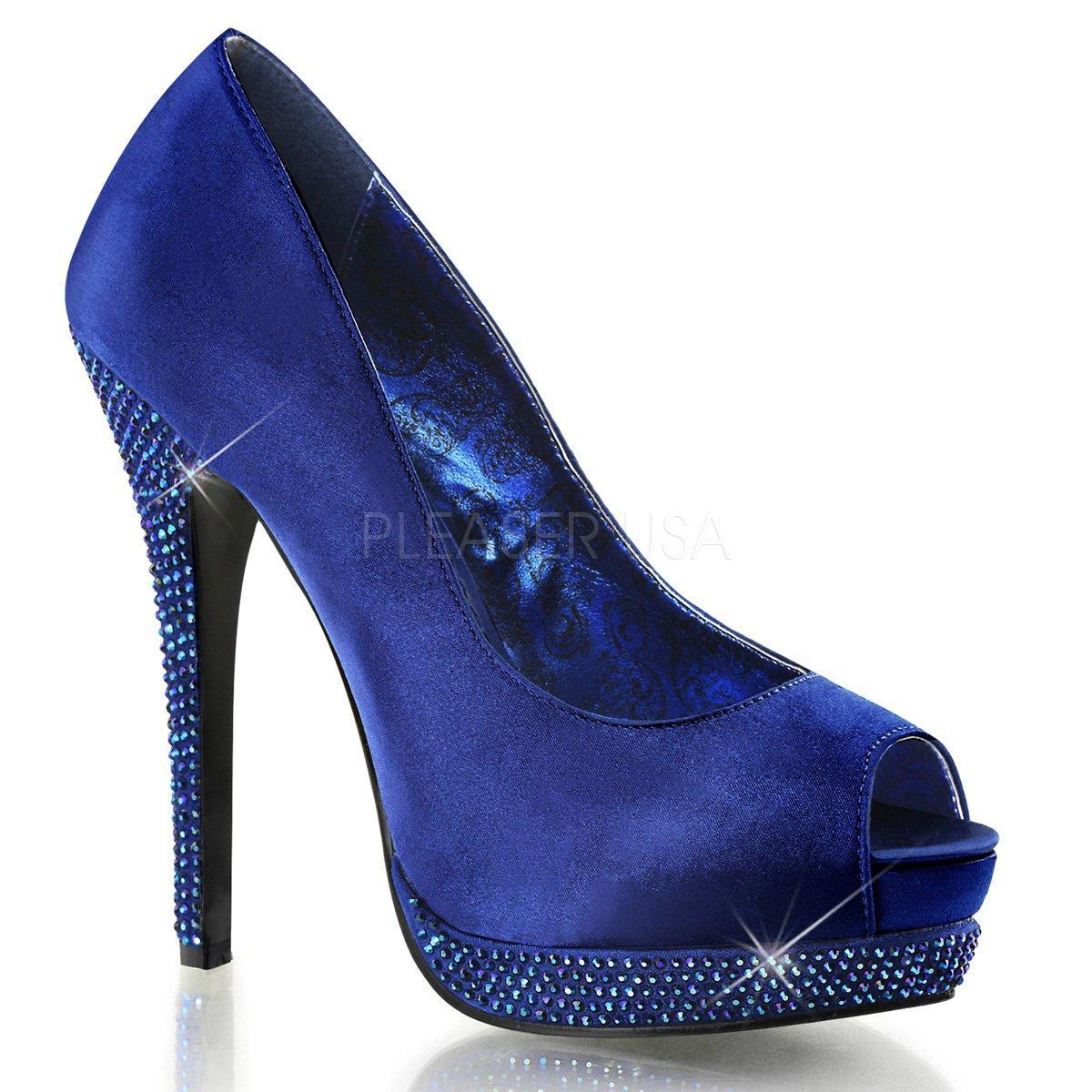 50670d92d99 Tmavě modré dámské lodičky na vysokém podpatku s kamínky BELLA-12R ...