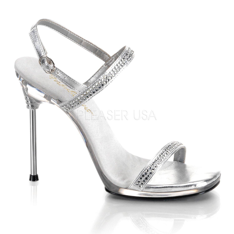 6ffcd387ce CHIC-17 Stříbrné společenské páskové sandálky na jehlovém podpatku ...