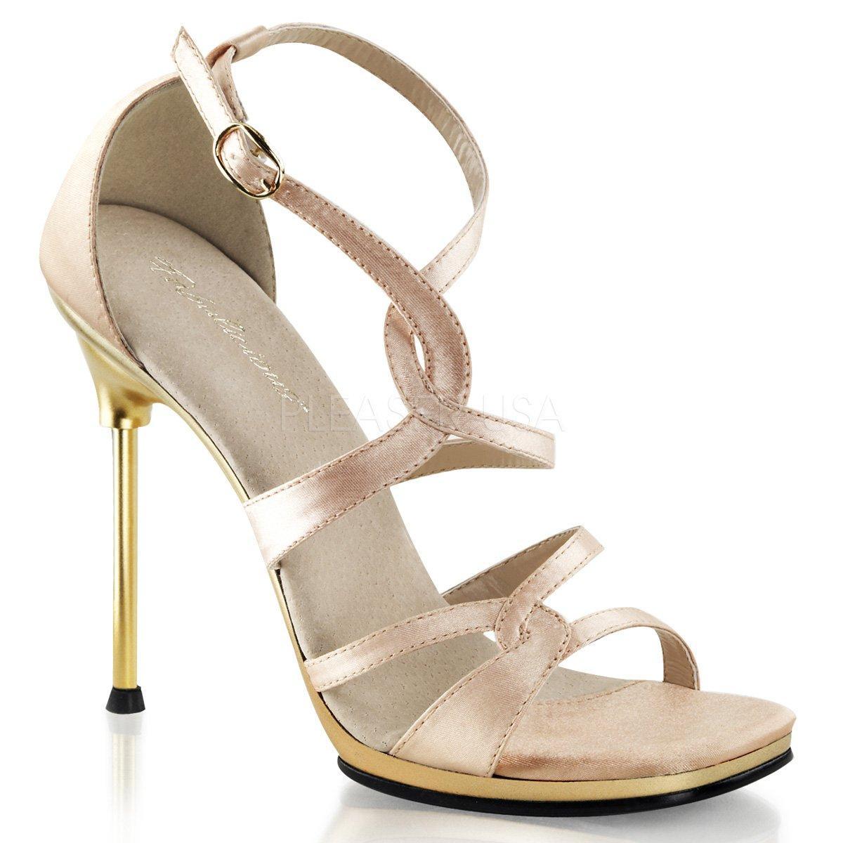 fe4cebd2ceec CHIC-46 Zlaté páskové společenské sandálky s uzavřenou patou na jehlách