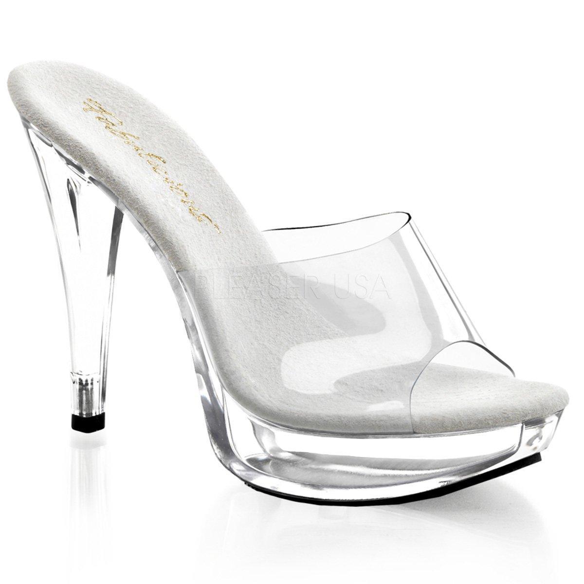COCKTAIL-501 Průhledné dámské pantofle se stříbrnou stélkou na vysokém  podpatku ab3ae38f80