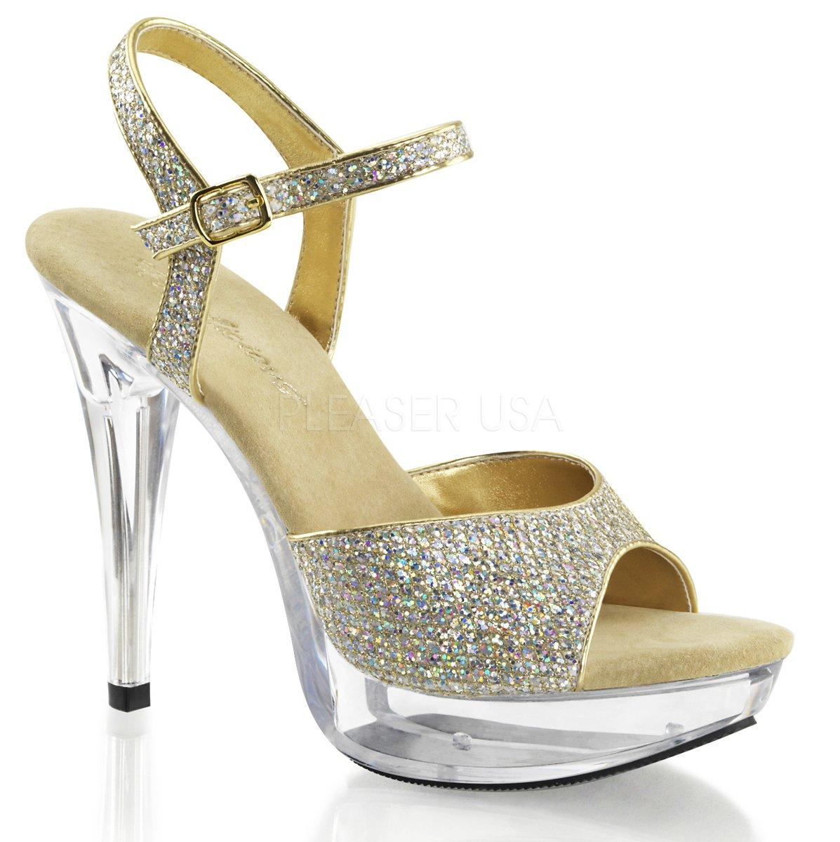 COCKTAIL-509G Zlaté flitrované společenské sandálky na průhledné platformě  a podpatku 1461144416