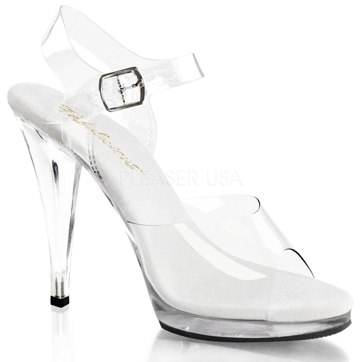 FLAIR-408 Jednoduché průhledné dámské sandálky na podpatku  8f2f9e4611