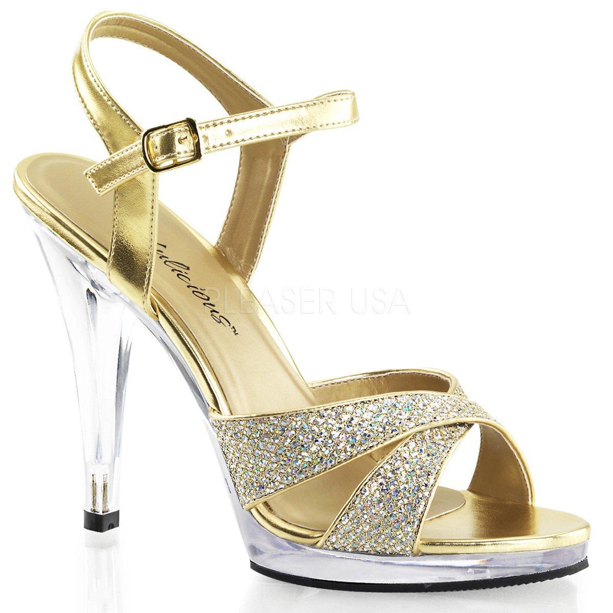 5288bd1efc FLAIR-419(G) Luxusní zlaté společenské sandálky na vysokém podpatku ...