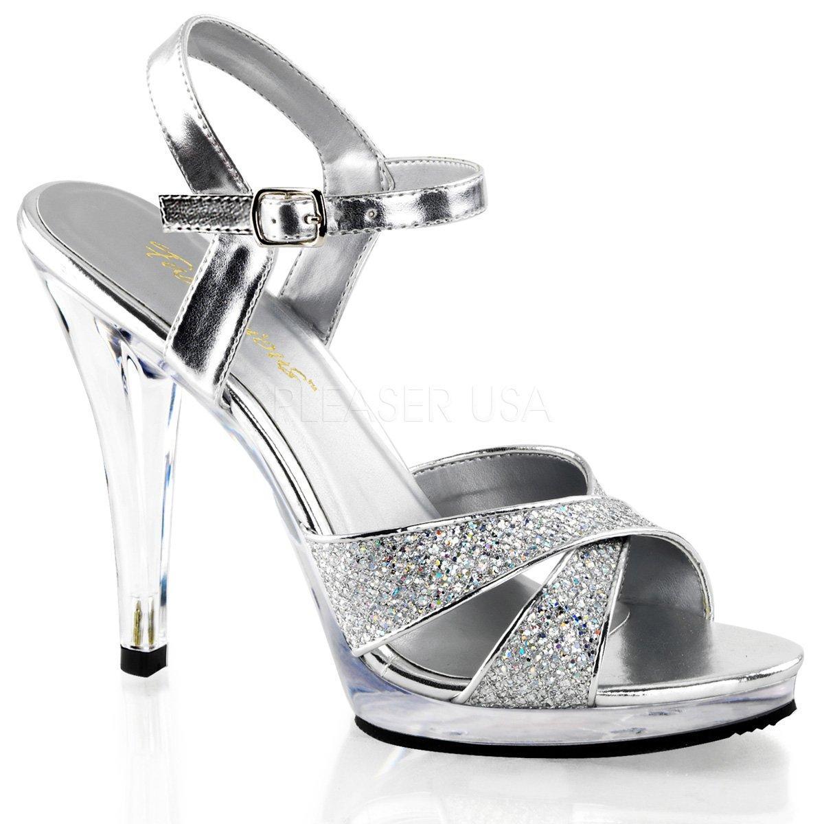 cfba3f083e FLAIR-419(G) Luxusní stříbrné společenské sandálky na vysokém podpatku