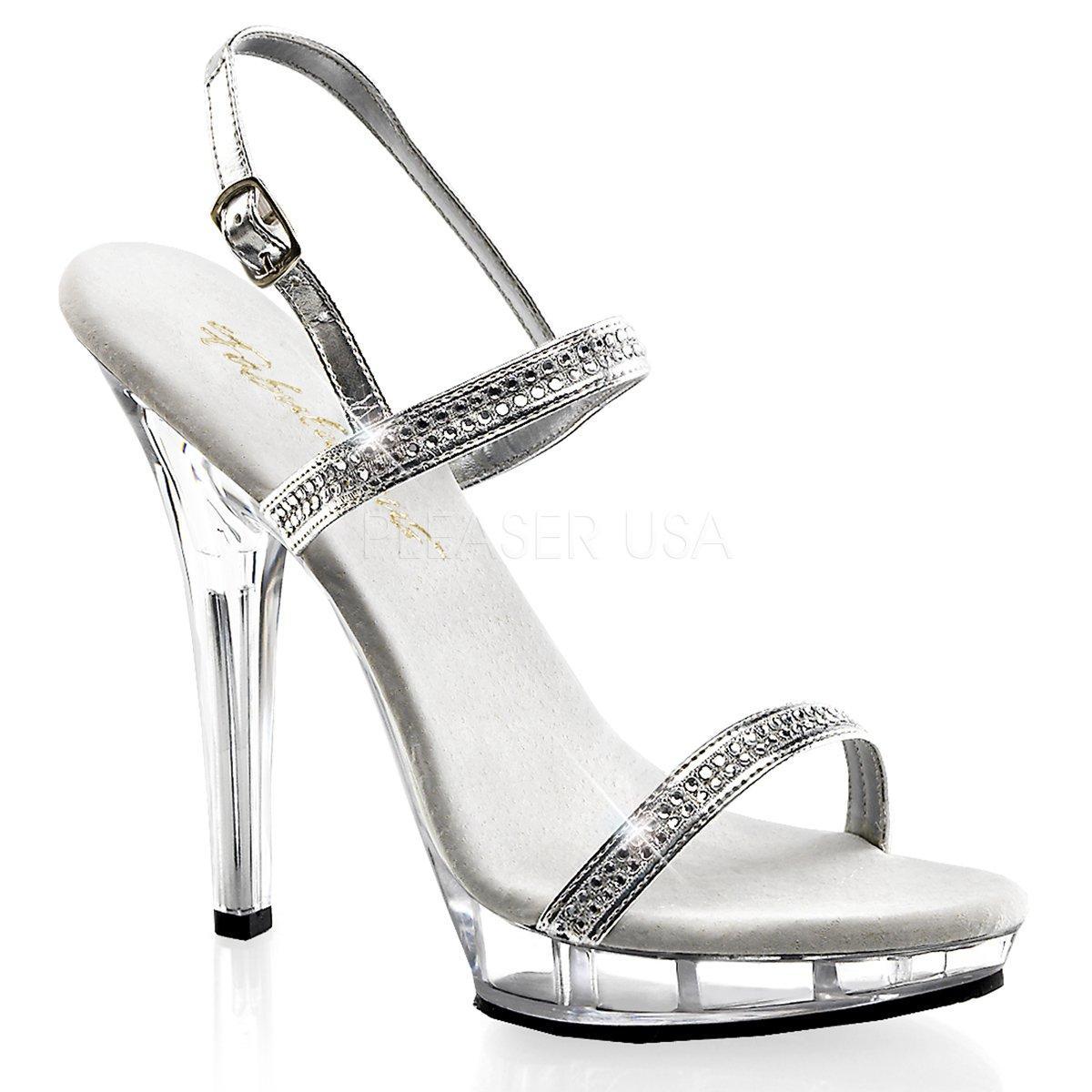083ae915f47 LIP-117 Luxusní stříbrné plesové sandálky s třpytivými pásky na vysokém  podpatku