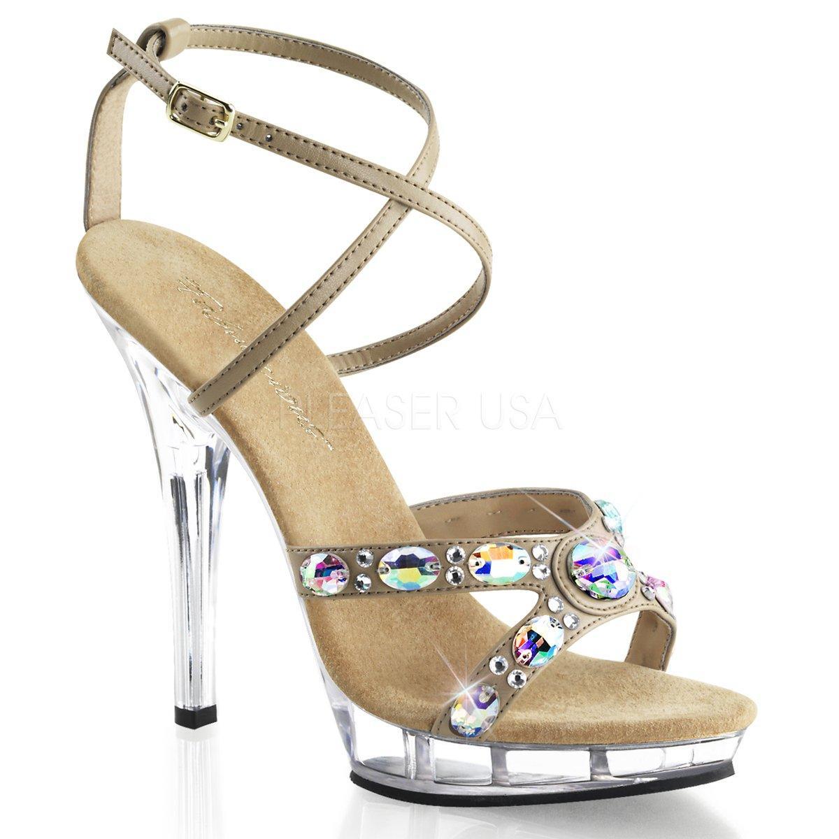 790138bb7015 LIP-145 Luxusní hnědé plesové sandálky na podpatku zdobené velkými kameny