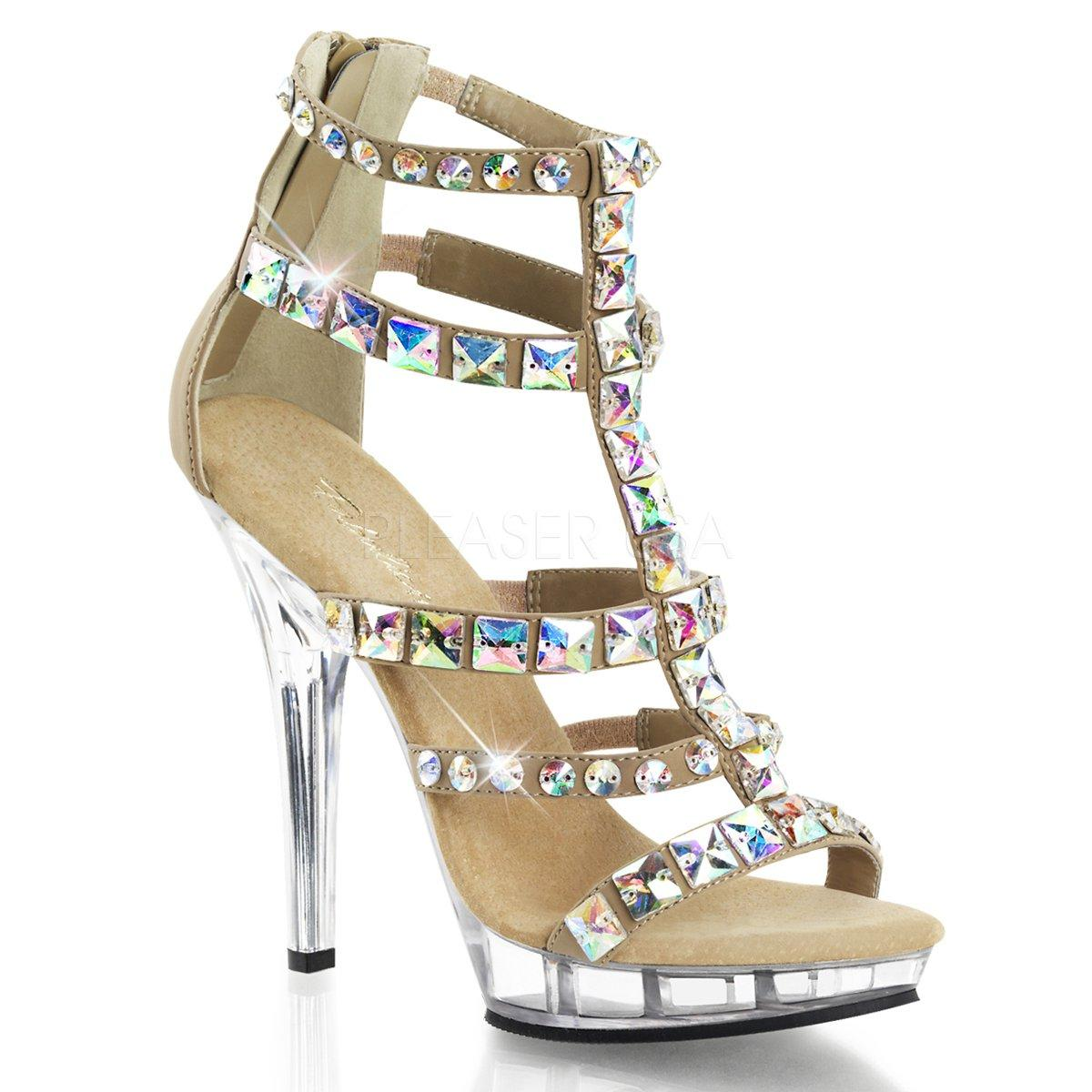 fe28ee08f1d LIP-158 Zlaté dámské páskové boty na podpatku zdobené kameny ...