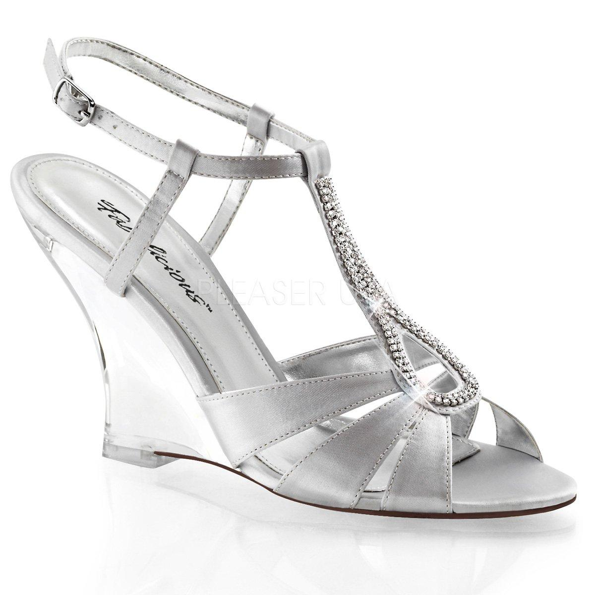 4e645ac18b LOVELY-420 Dámské stříbrné společenské sandálky na klínku zdobené  štrasovými kamínky