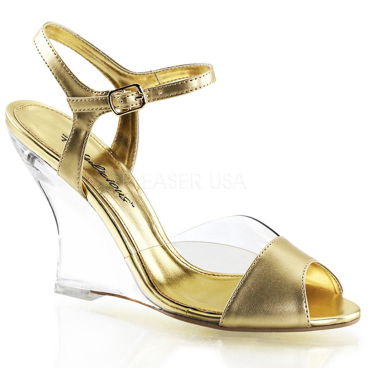 c8cc3a6a791d LOVELY-442 Zlaté dámské plesové sandálky na klínku