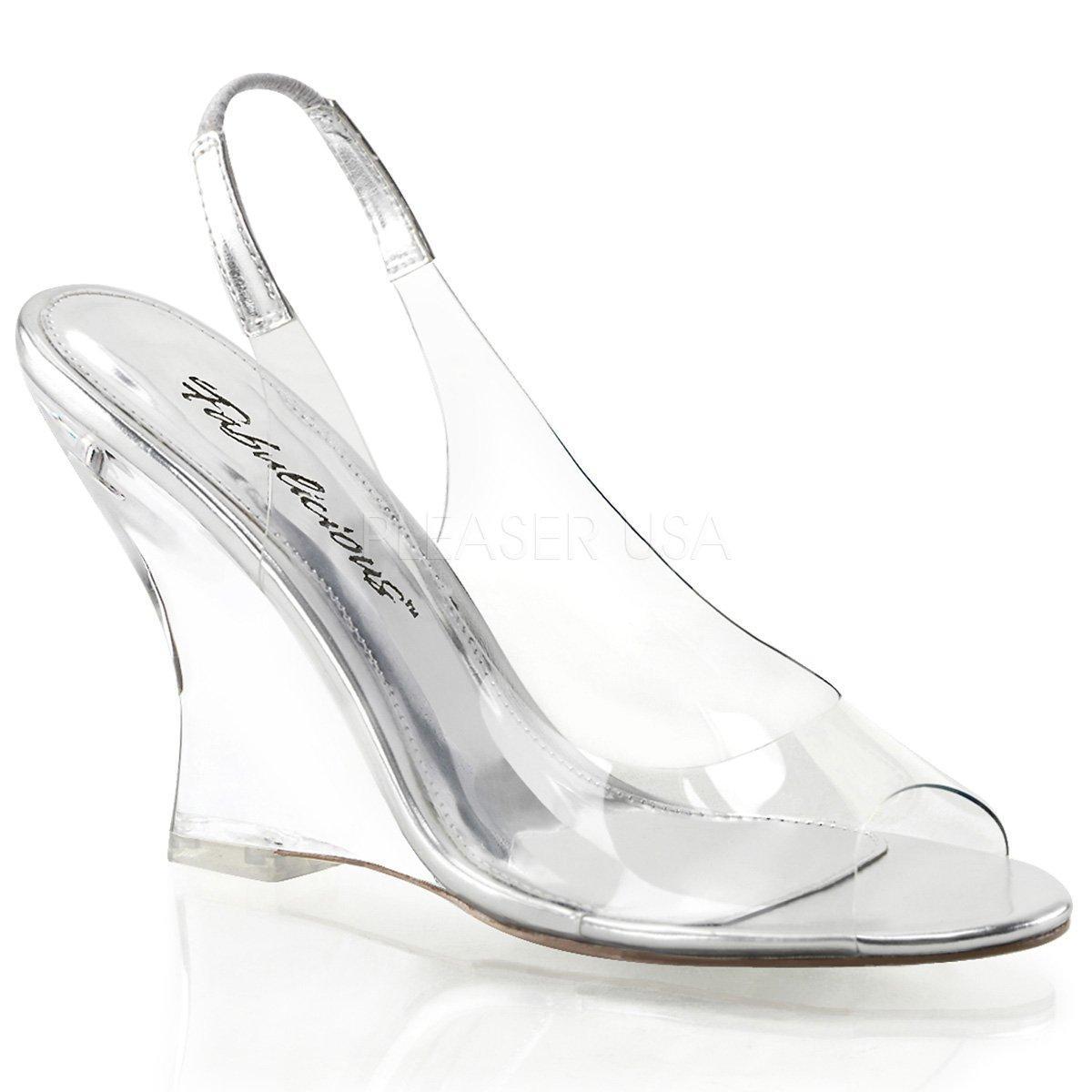 LOVELY-450 Průhledné letní dámské sandálky na klínku  33d5d77664