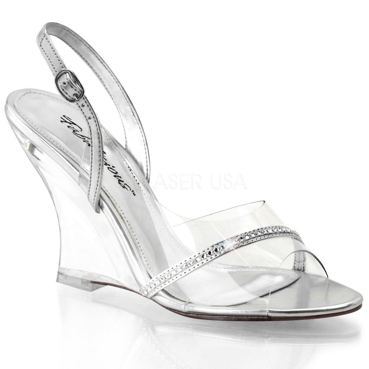 LOVELY-456 Průhledné společenské dámské sandálky na klínku  64ac6a17e8
