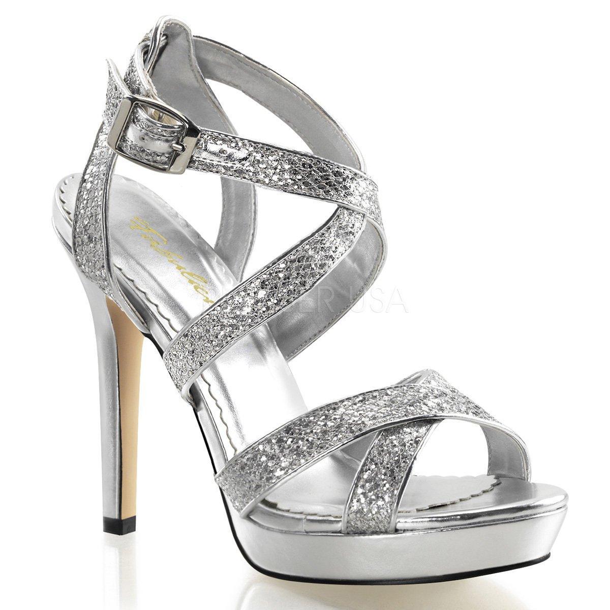 4ce0a476d2 LUMINA-21 Stříbrné společenské páskové sandálky na vysokém podpatku ...