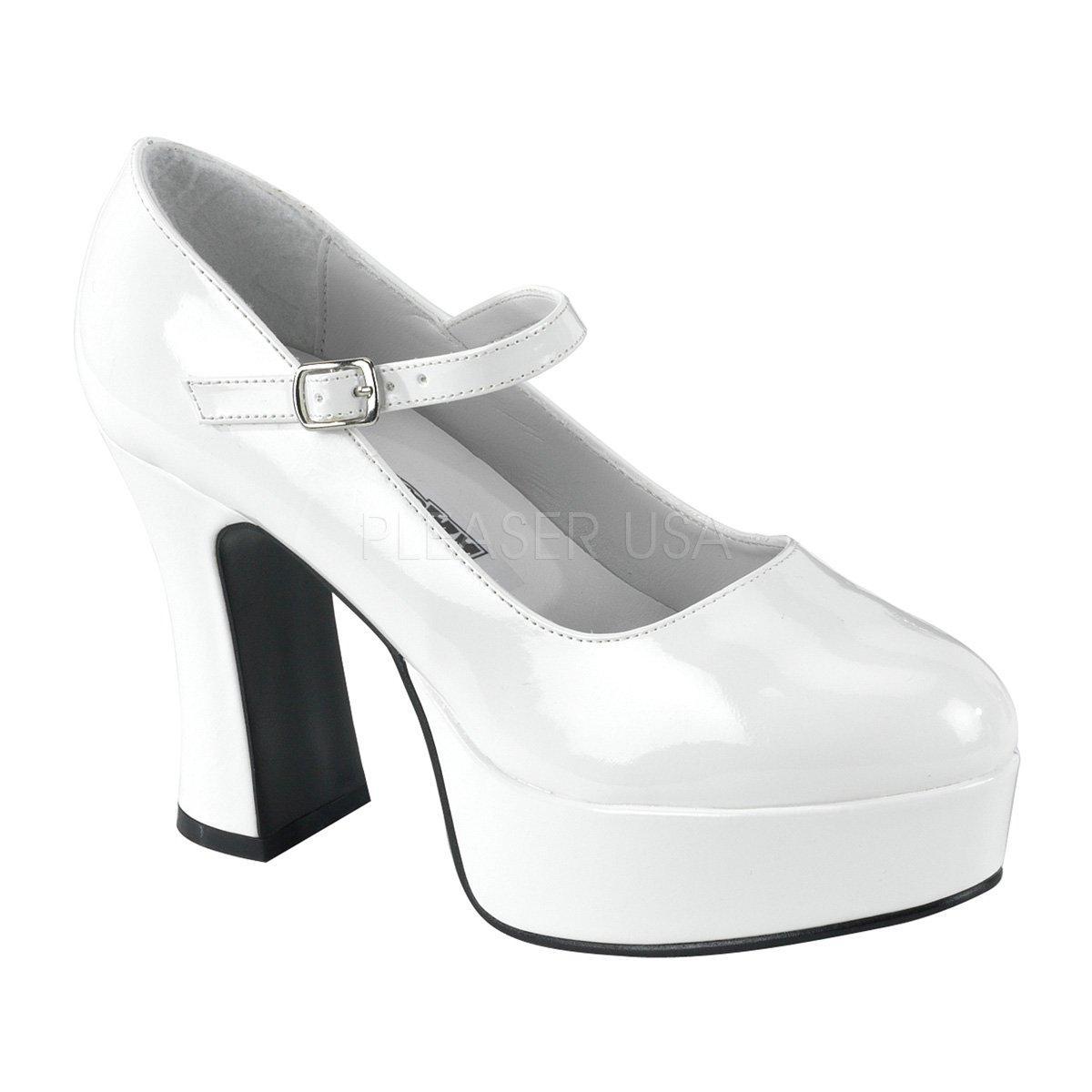 MARYJANE-50 Bílé lakované dámské boty na masivní platformě a podpatku e1757087bc