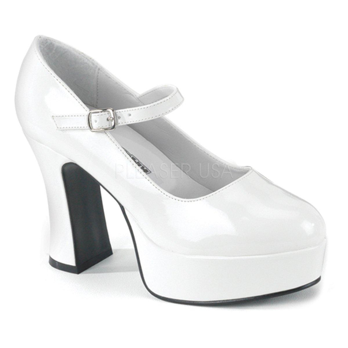 597a5a8f256 MARYJANE-50X Bílé lakované dámské boty na masivní platformě a podpatku -  pro silnější chodidlo