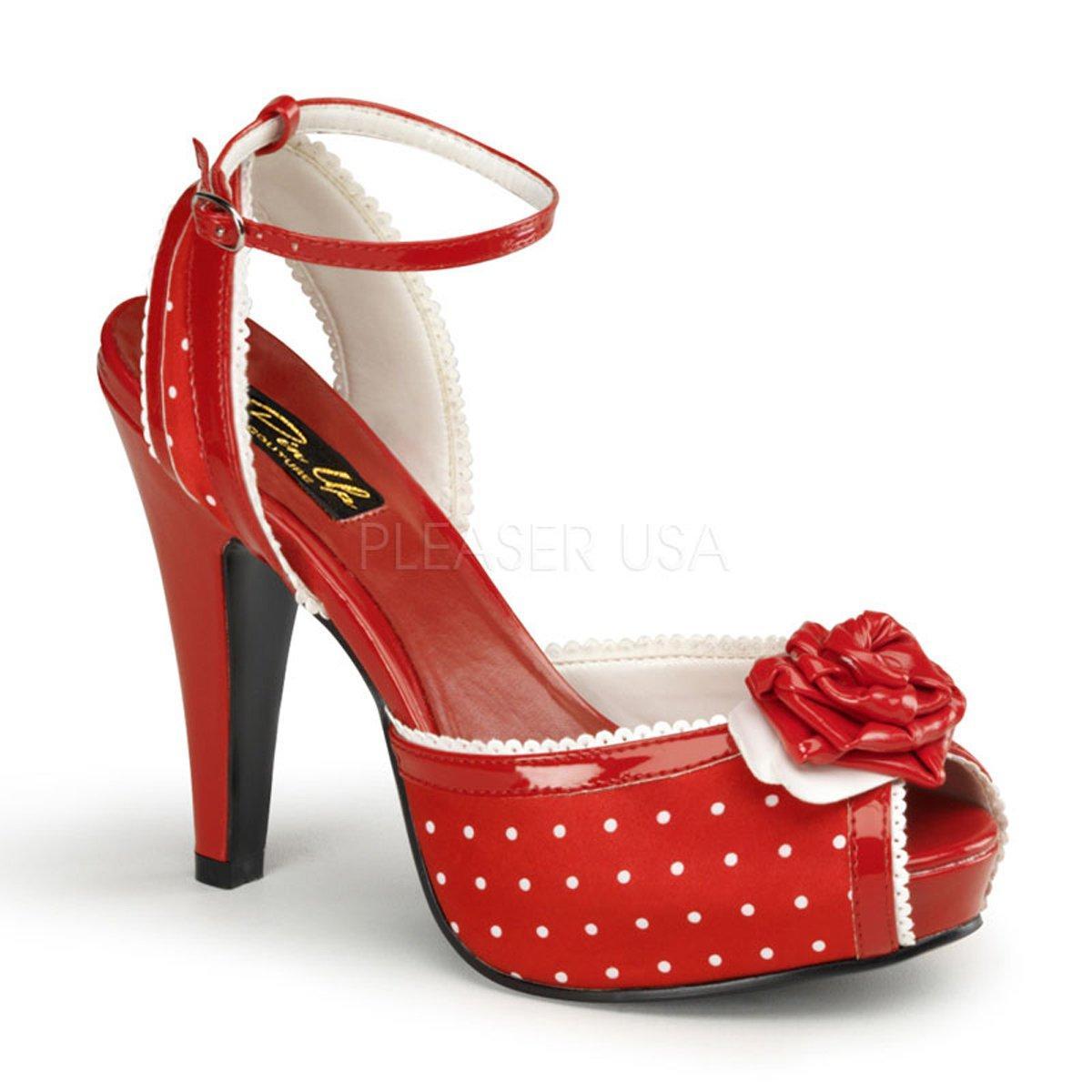 292f1e431629 BETTIE-06 Červeno-bílé puntíkaté společenské retro sandálky ...
