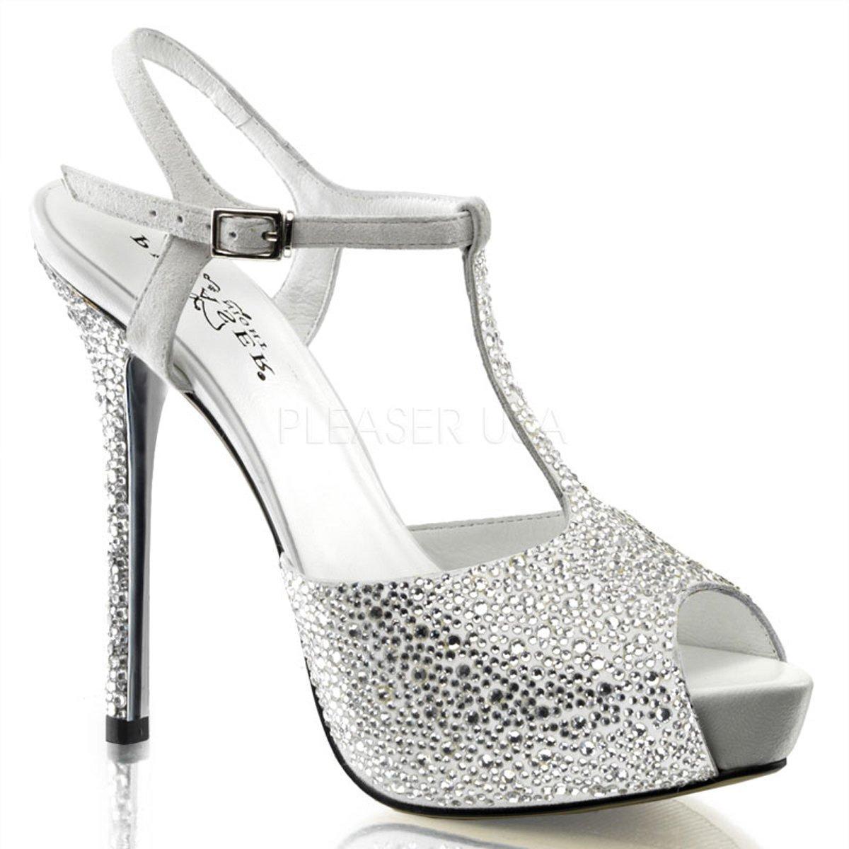 PRESTIGE-10 Stříbrné společenské páskové sandálky na podpatku zdobené  kamínky c2352281ab