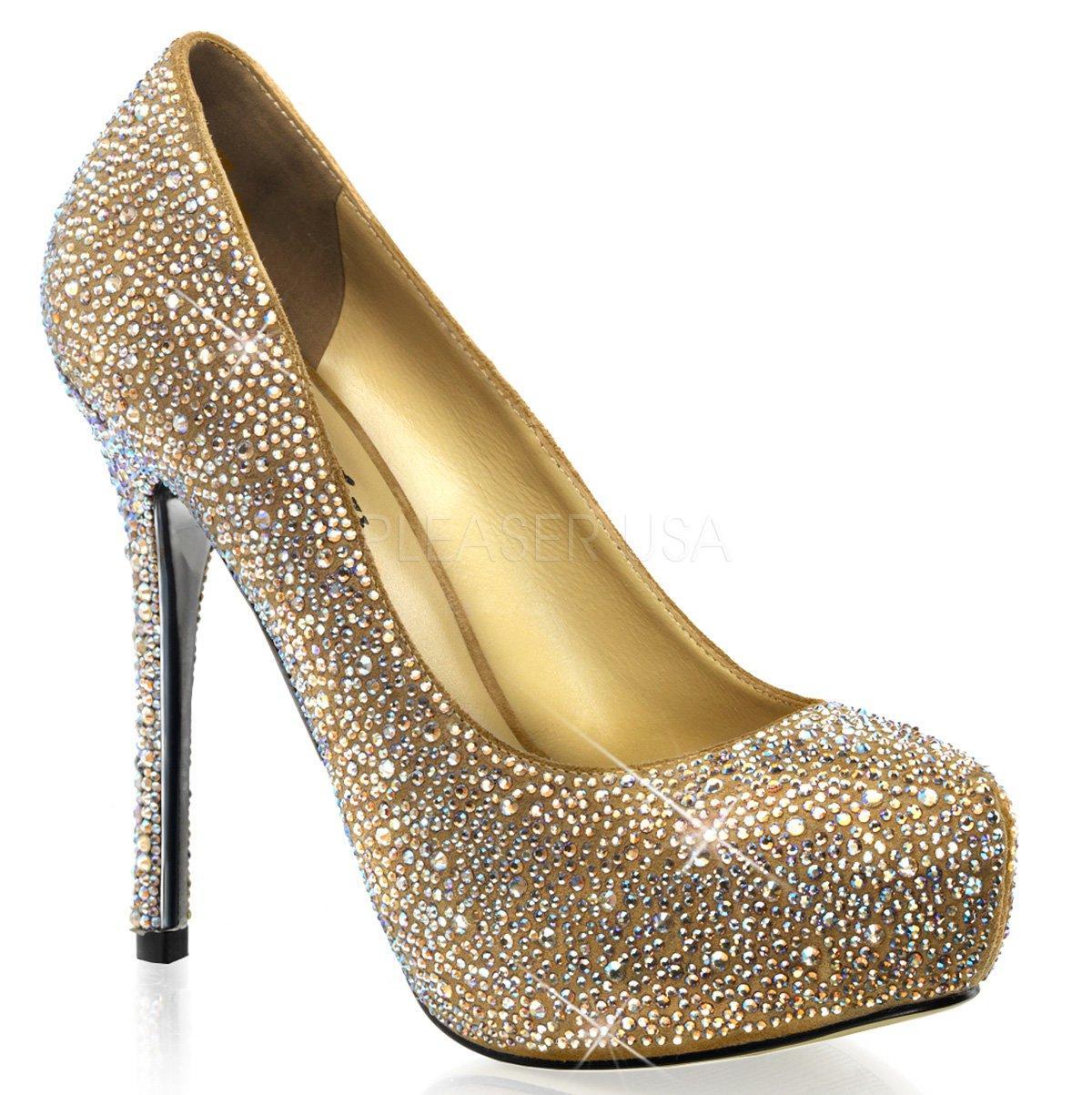 PRESTIGE-20 Luxusní zlaté třpytivé lodičky s kamínky na jehlách ... b39978cd39