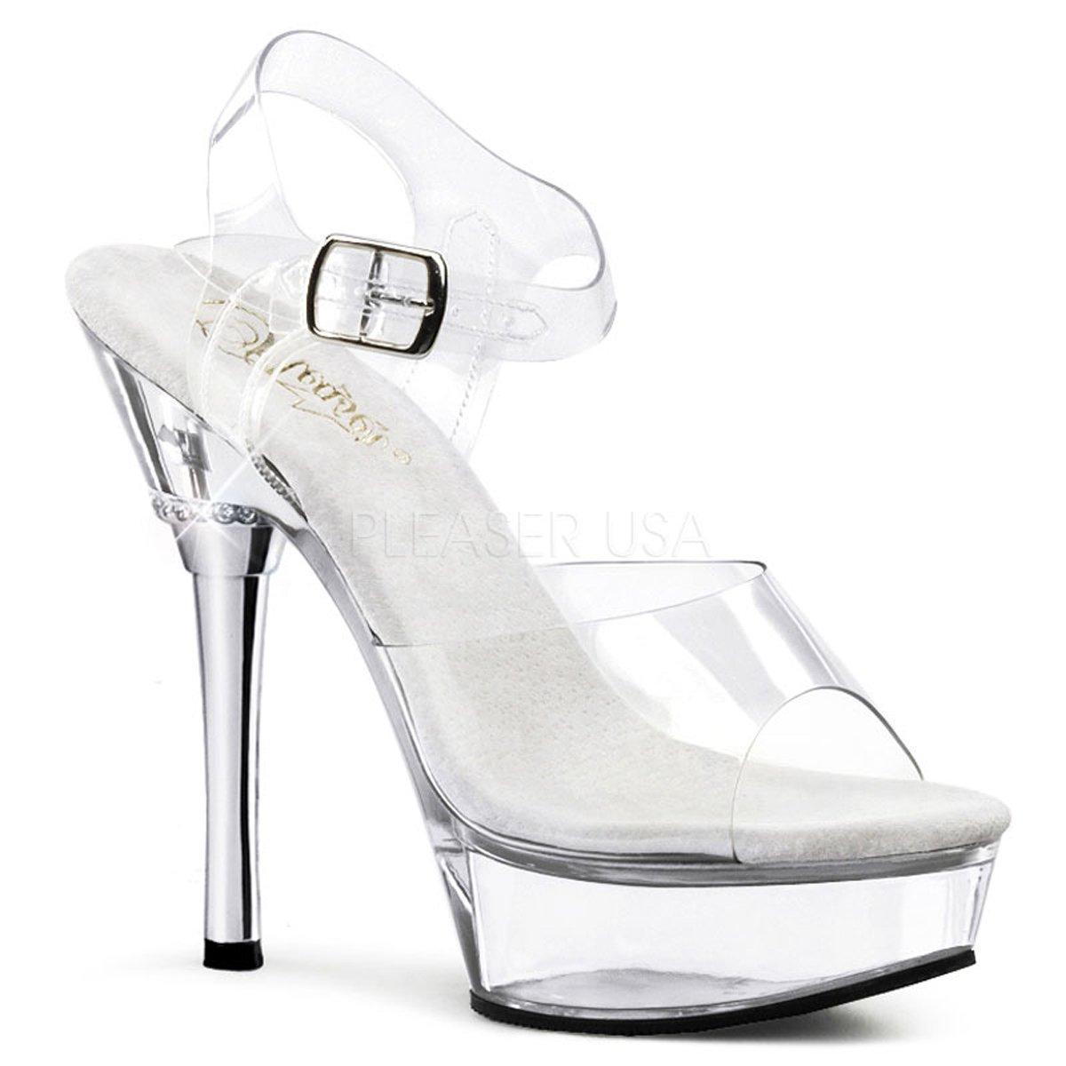 ALLURE-608 Luxusní bílé sandálky s průhlednými pásky na chromovém podpatku 9e0387cf5a