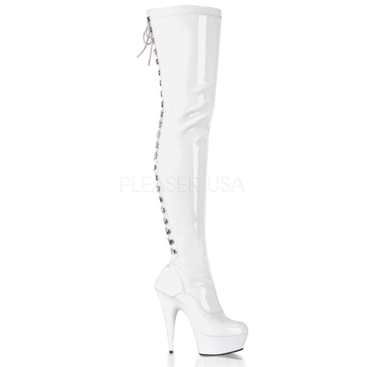 DELIGHT-2023 Sexy bílé lakované kozačky pod kolena na jehlách ... 582c259206