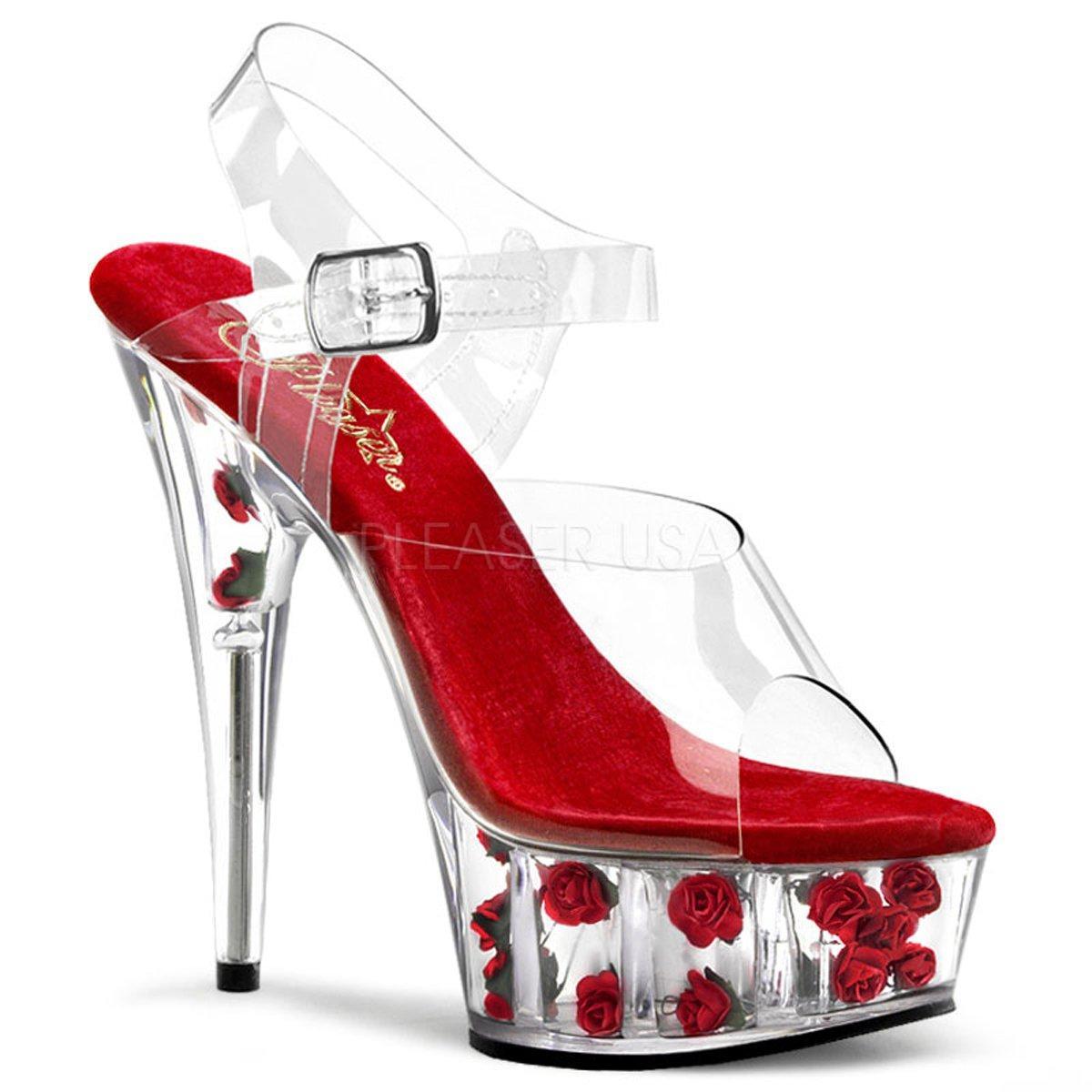 DELIGHT-608FL Průhledné sandálky na vysokém podpatku s červenou stélkou a  růžemi uvnitř platformy 3de2036908