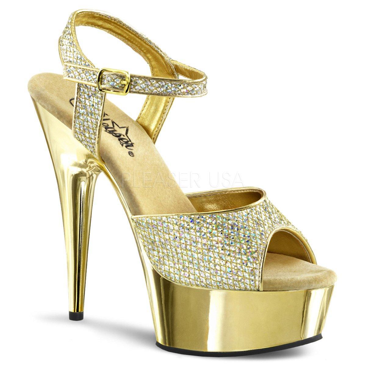 DELIGHT-609G Luxusní zlaté sandálky s kamínky na podpatku  9a34f1b585