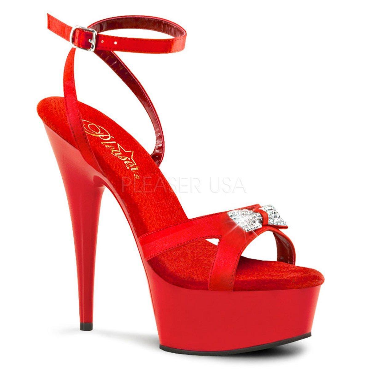 8a02969ec521 DELIGHT-636 Červené společenské sandálky na jehlách s mašlí ...