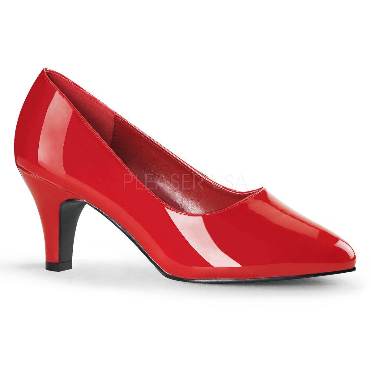 DIVINE-420W Elegantní červené lakované lodičky na nízkém podpatku ... 017838ebbf