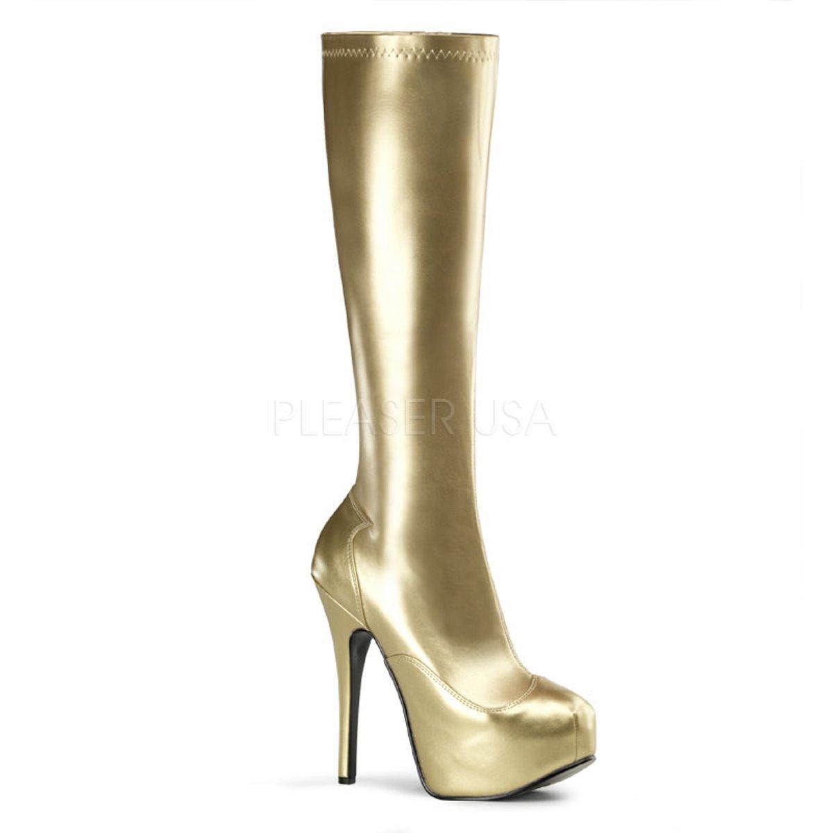 94fb37b8688 Luxusní zlaté lesklé kozačky pod kolena na vysokém podpatku TEEZE-2000