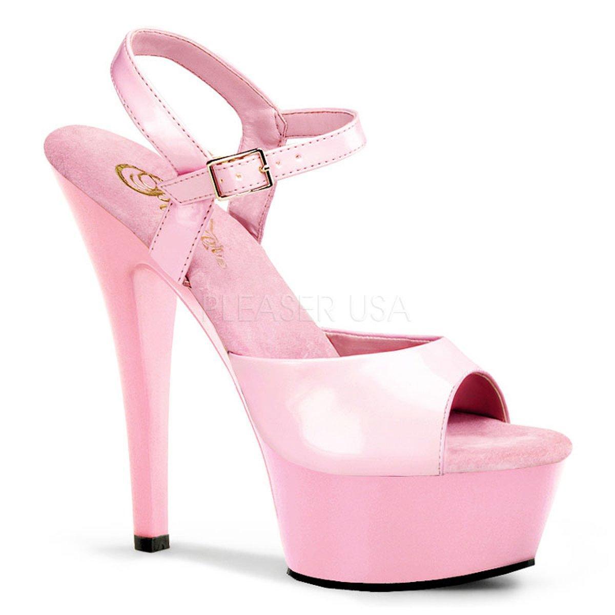 e8b39558d522 KISS-209 Růžové lakované sandálky na podpatku a platformě