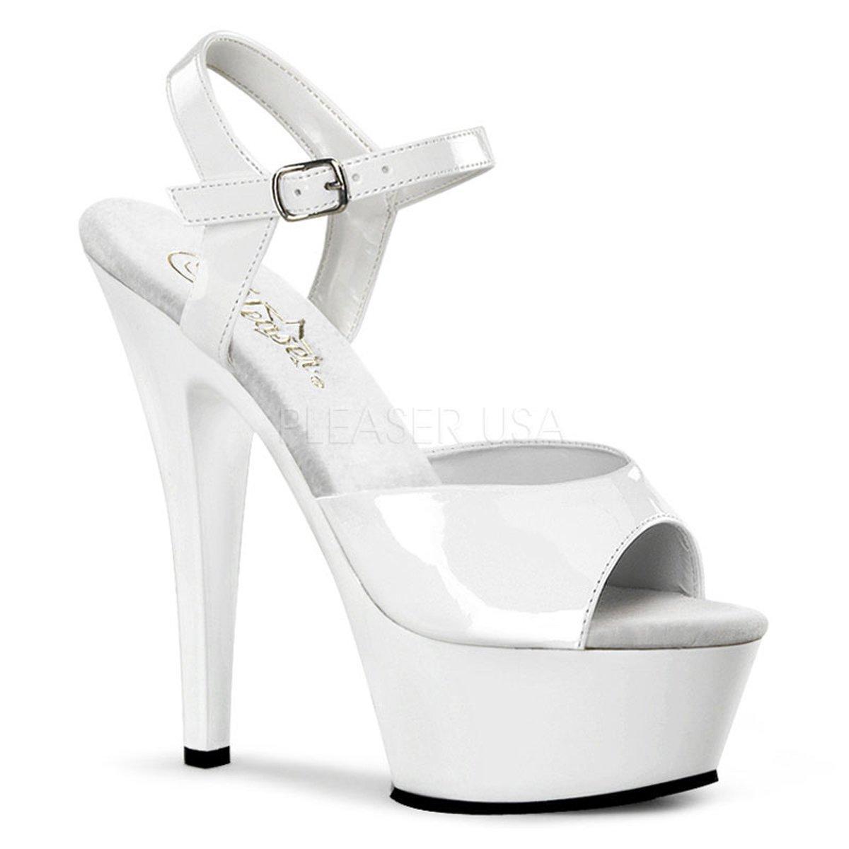 f84eb2bb11a KISS-209 Bílé lakované sandálky na platformě a podpatku