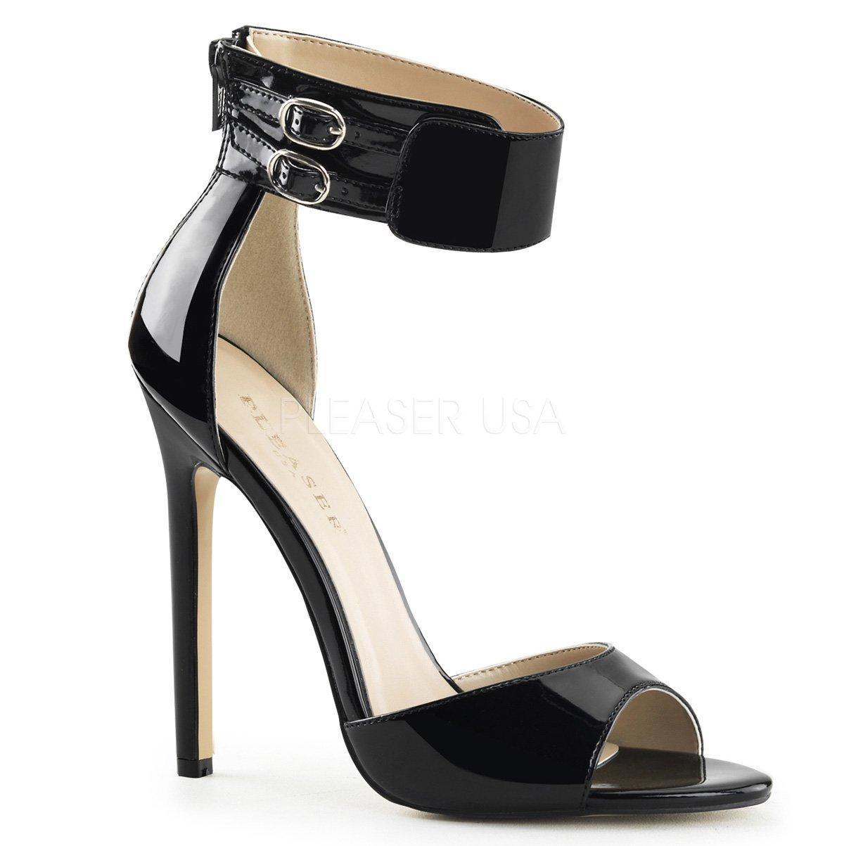 38d990ded27 SEXY-19 Jednoduché černé lakované sandálky s širokým páskem kolem kotníku