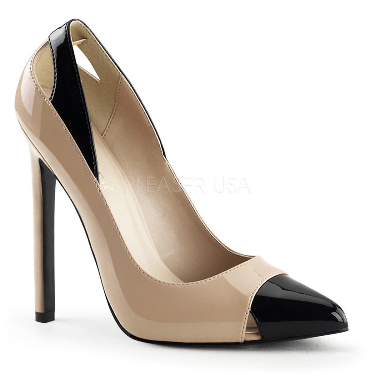 SEXY-22 Elegantní béžovo-černé lakované společenské boty na podpatku ea51b54a3c