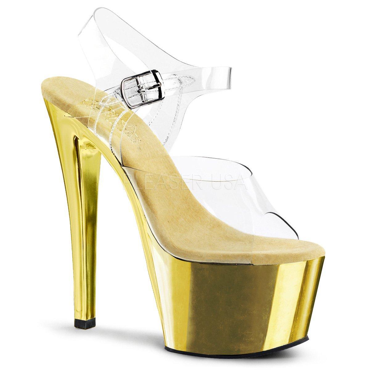 738974d97c40 SKY-308 Zlaté sexy sandálky na podpatku a platformě
