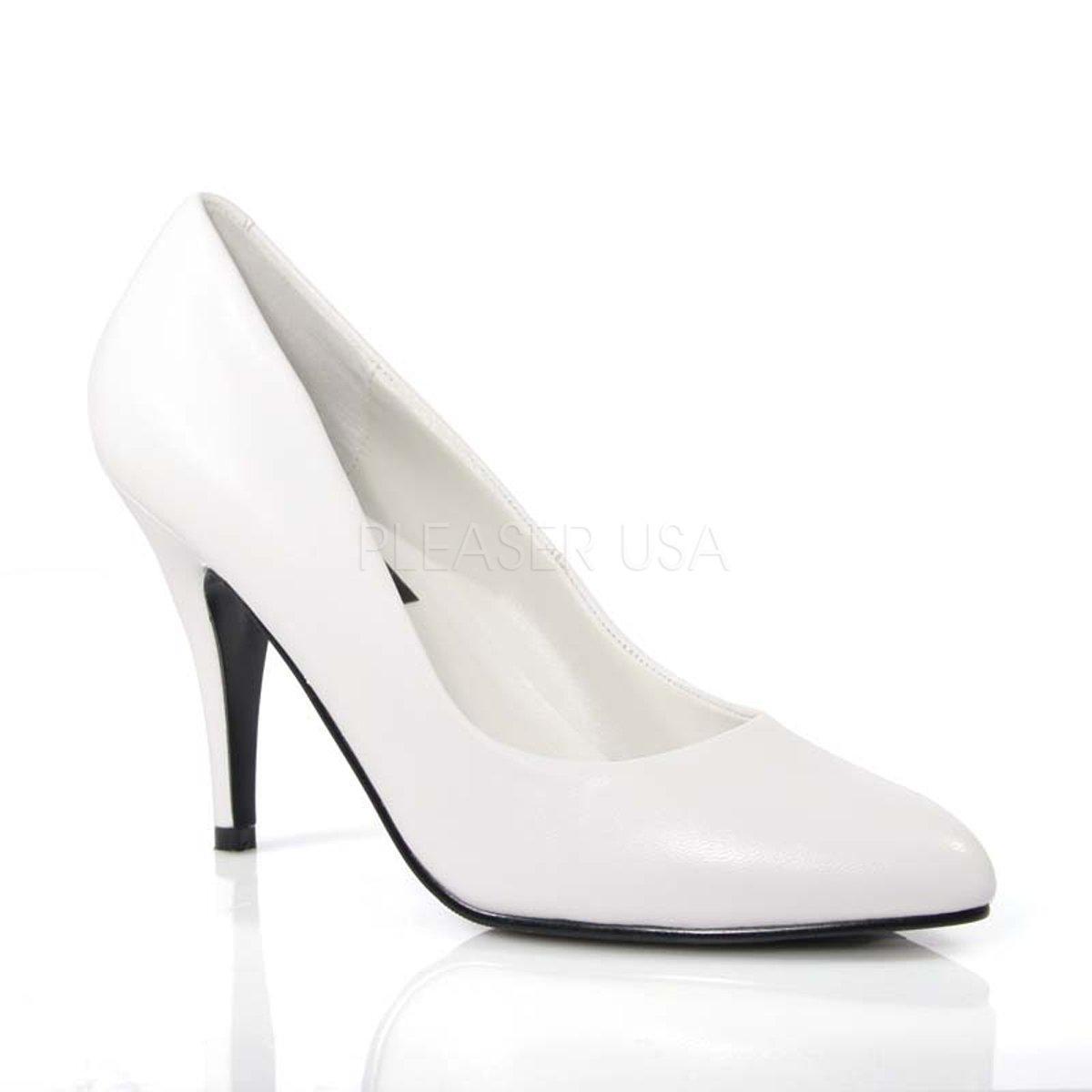 VANITY-420 Klasické bílé kožené lodičky na podpatku  71a44ee9cd