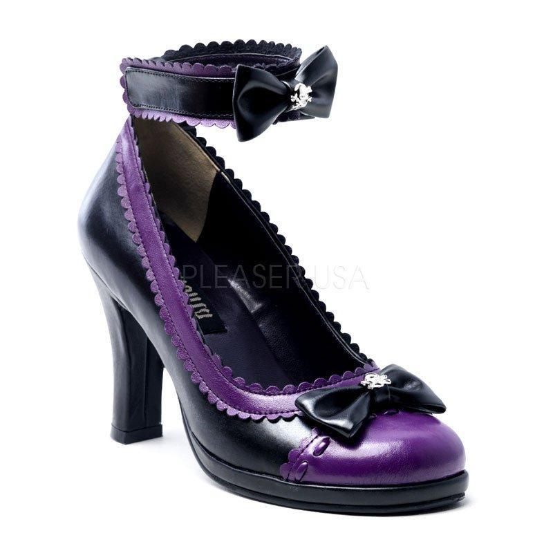 VIOLETTE-12G Fialové dámské společenské boty na podpatku  b3d60bc597