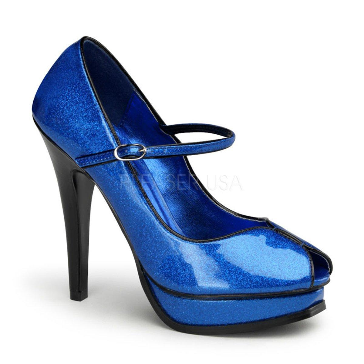 f1d3e457e50c PLEASURE-02G Luxusní modré lodičky s otevřenou špičkou na platformě a  podpatku