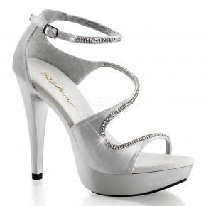 COCKTAIL-526 Luxusní stříbrné společenské sandálky na podpatku se zdobenými  pásky 07e0e9dc78