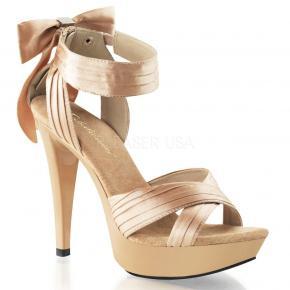 COCKTAIL-568 Elegantní béžové společenské sandálky na jehlách s mašlí 6bced997aa