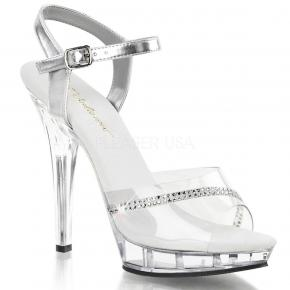 LIP-108R Jednoduché průhledné sandálky se stříbrnými pásky na podpatku 255e0094e0