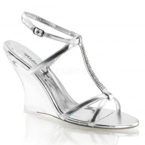LOVELY-428 Stříbrné plesové sandálky na klínku se zdobeným páskem přes nárt 12a847af9e