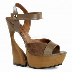 07c598dc515 SWAN-612 Elegantní dámské hnědé kožené sandálky na klínovém podpatku