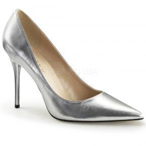 CLASSIQUE-20 Klasické stříbrné lodičky na jehlovém podpatku e455812375