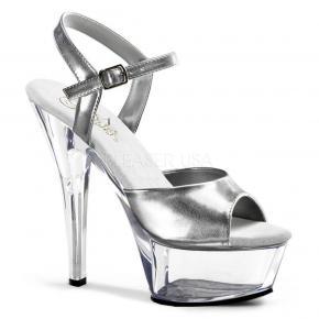 KISS-209 Stříbrné sandálky na průhledné platformě 2cc3687150