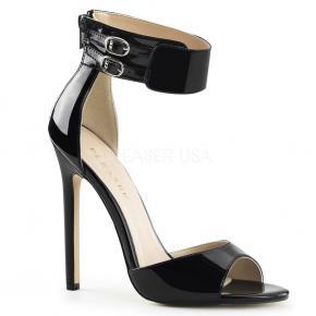 SEXY-19 Jednoduché černé lakované sandálky s širokým páskem kolem kotníku e7db8ca347