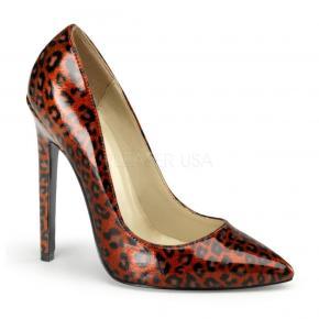 b8bdeb24e23 SEXY-20 Klasické červené perleťové lodičky na podpatku - vzor leopard