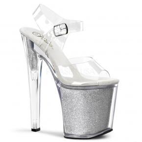 f0bc49fcd2c XTREME-808G Stříbro-průhledné taneční sandálky na velmi vysokém podpatku a  platformě